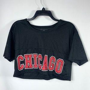 NBA Chicago Bulls Logo Net Jersey Crop Top